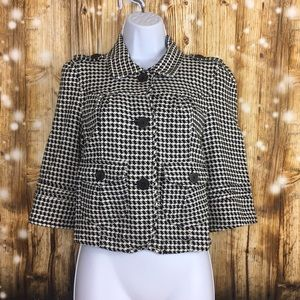 Roxy houndstooth cropped jacket sz med